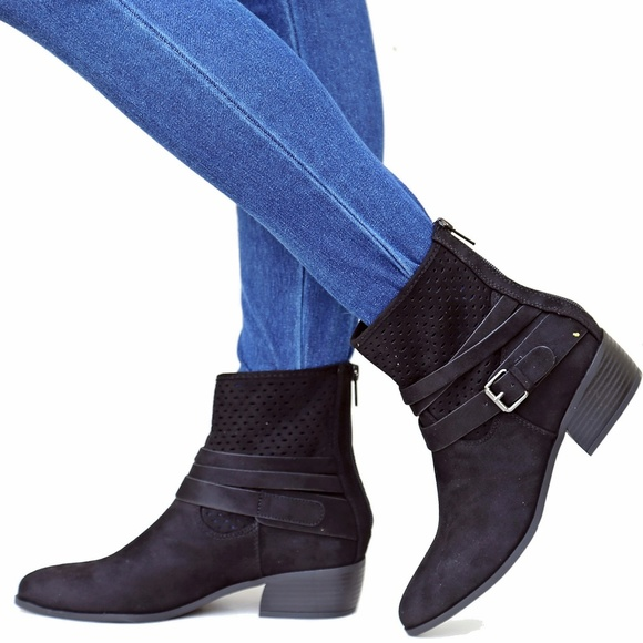 22ed170158d Black Western Strappy Low Heel Ankle Boots Bootie